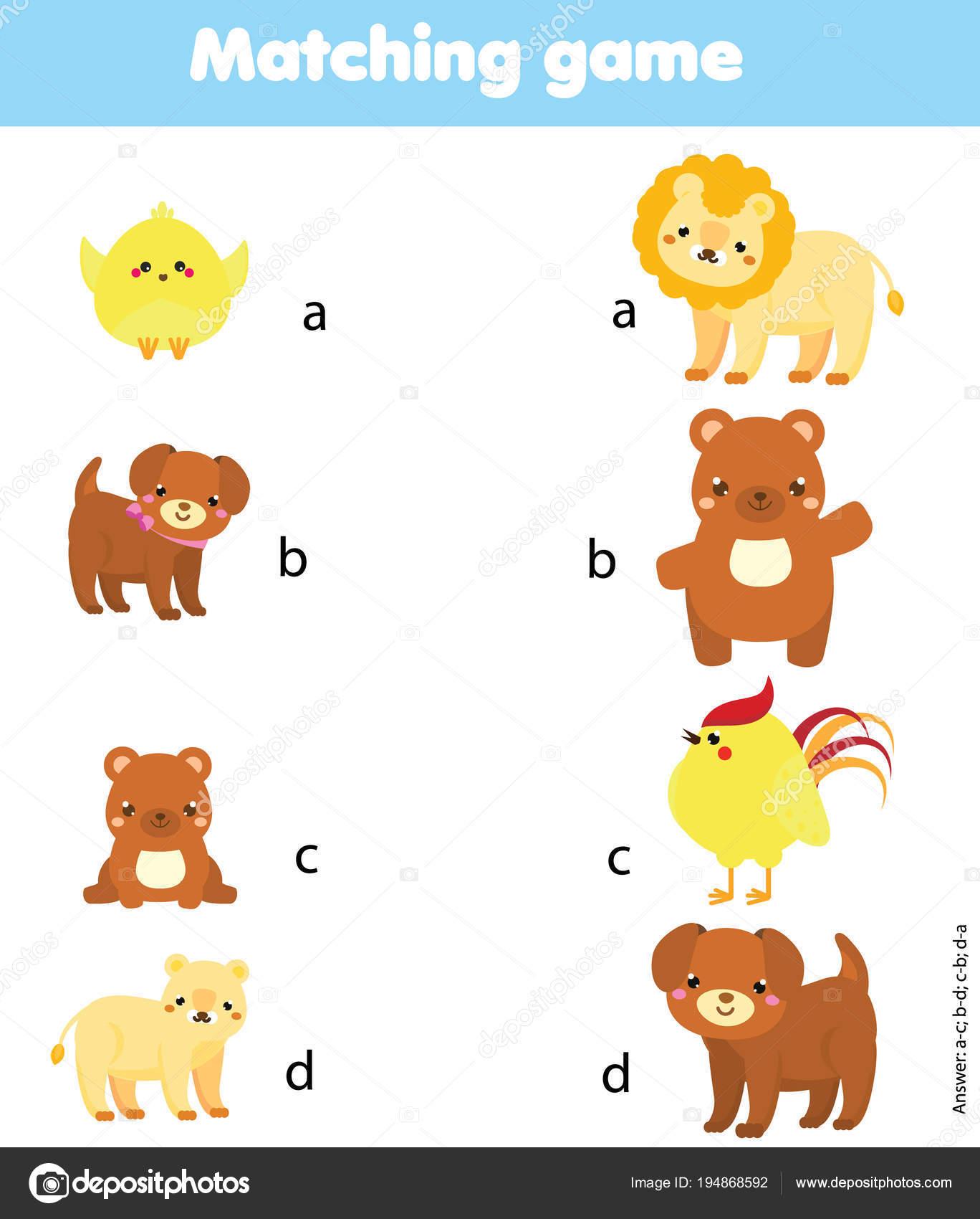 photo regarding Baby Animal Match Game Printable known as Animal toddlers matching activity Matching activity. Sport animal
