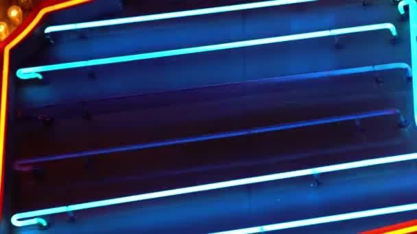 Blue Neon Lights On Hollywood Blvd California USA