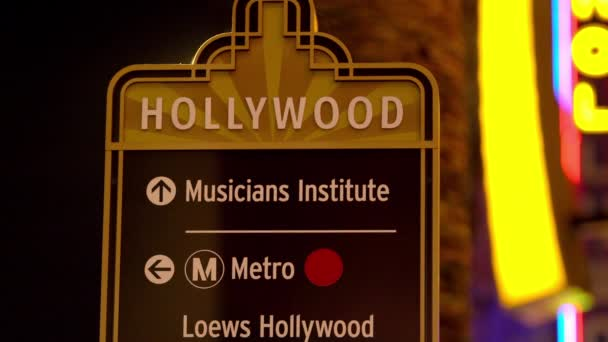 Hollywood Blvd Information Sign At Night