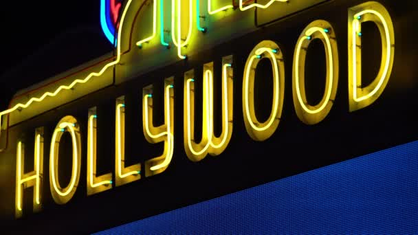 Hollywood Neon Sign Yellow On Hollywood Blvd