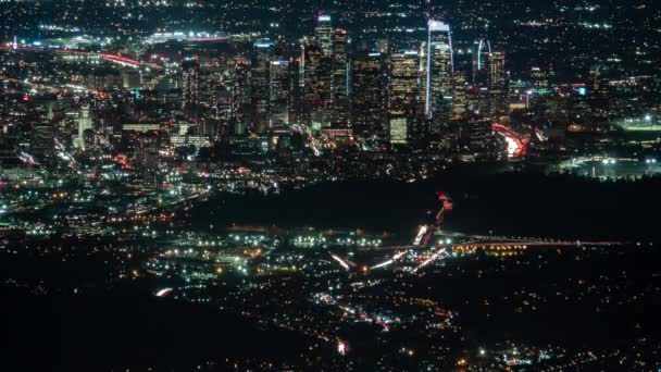 Los Angeles Downtown and Freeway Ultra Telephoto Night Time Lapse California USA