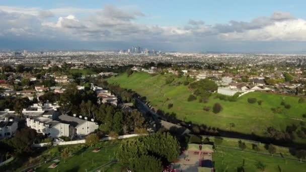 Los Angeles A Park In Baldwin Hills At Sunset Aerial Shot California USA Forward
