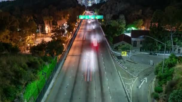 Los Angeles-i autópálya forgalom Grand View Point Night Time Lapse California Tilt Up