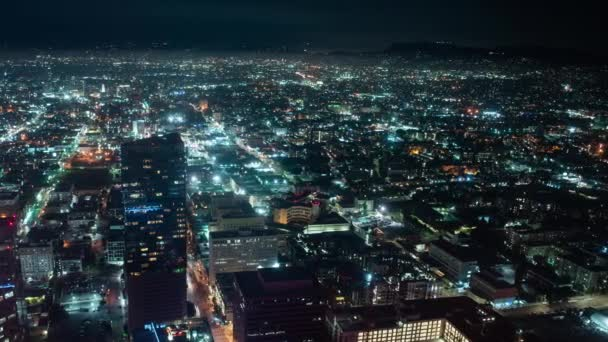 Los Angeles to Hollywood Hills Night Cityscape Time Lapse California Amerikai Egyesült Államok Pan Left