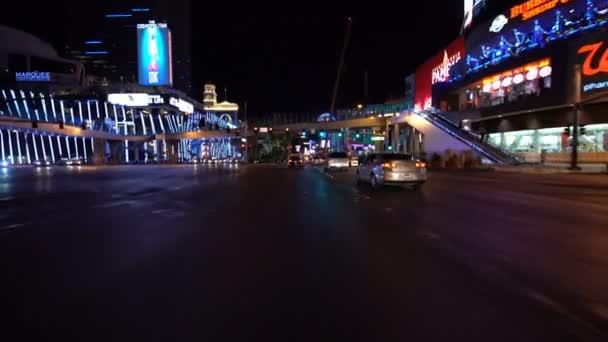Las Vegas Strip Driving Plate Northbound at Night 6 at Harmon Ave Nevada USA