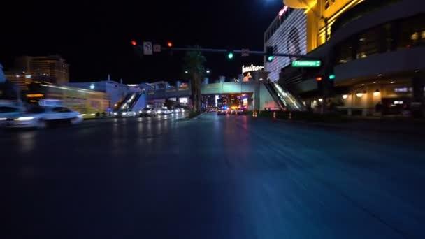 Las Vegas Strip Driving Plate Northbound at Night 8 at Flamingo Ave Nevada USA