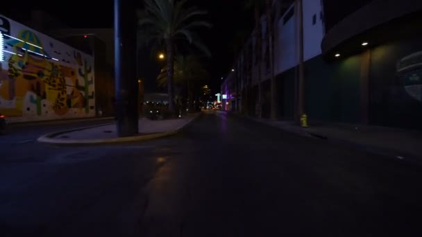 Las Vegas Blvd Downtown Driving Plate Southbound at Night 4 at Fremont Street Nevada USA