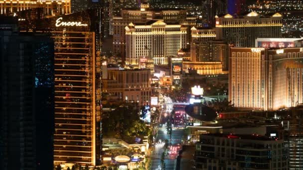 Las Vegas Strip Aerial Time Lapse of Hotel and Casino At Night In Nevada USA