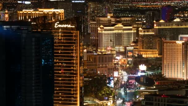 Las Vegas Strip Aerial Time Lapse of Hotel and Casino At Night In Nevada USA Pan Right