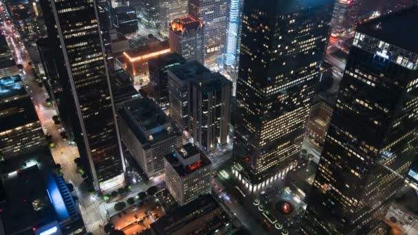 Aerial Time Lapse Traffic in Los Angeles Downtown City Grids In California USA