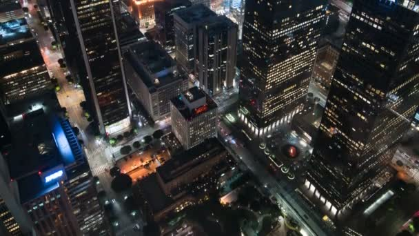Los Angeles Downtown Financial District Aerial Time Lapse In California USA Tilt Up Closeup