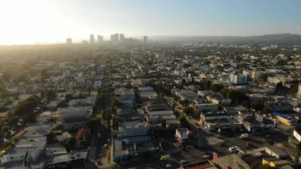 Los Angeles Aerial Panorama Shot of Miracle Mile to Beverly Hills Sunset Vissza