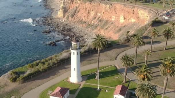 Air Shot of Lighthouse Point Vincent in Palos Verdes California Orbit Left Descend
