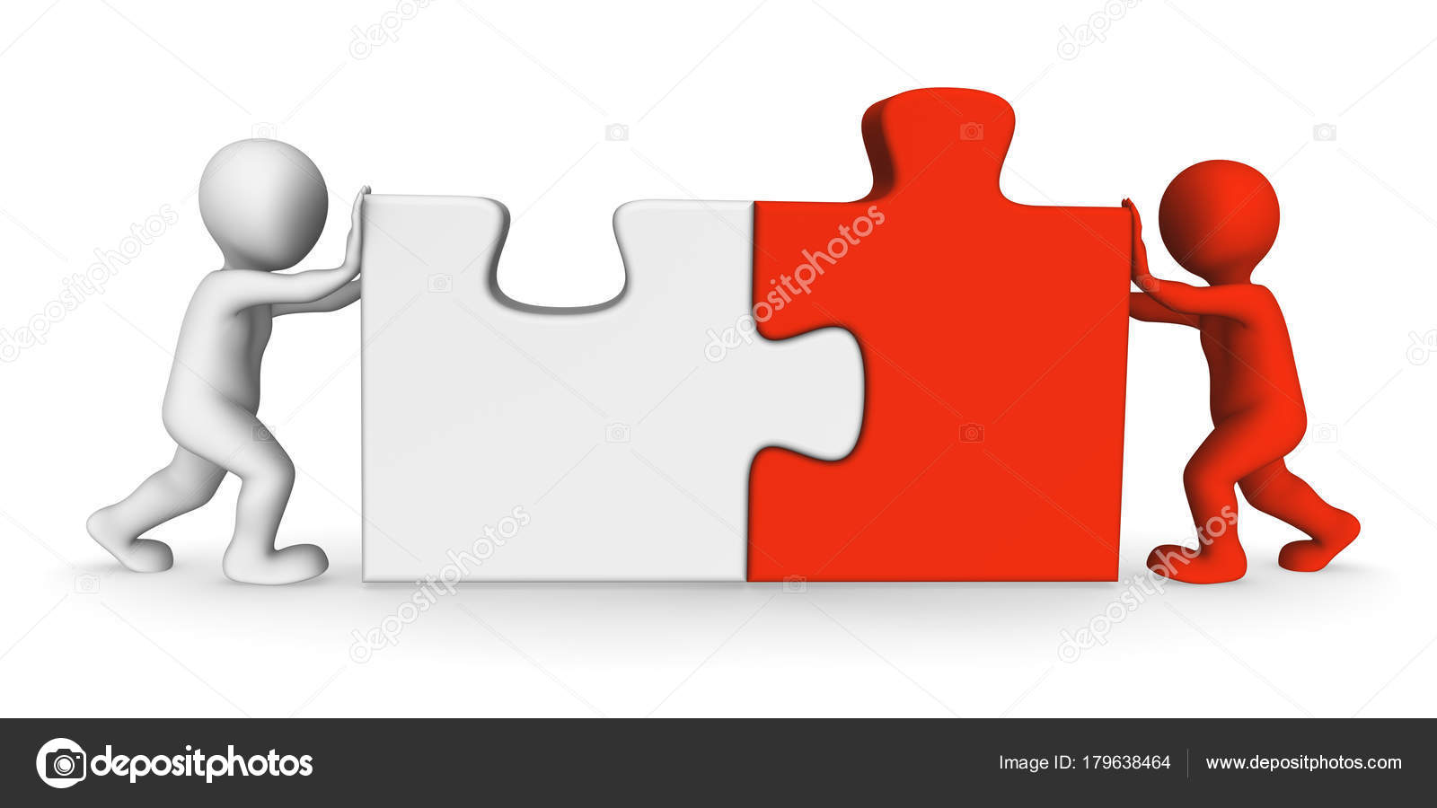 People Working Jigsaw Puzzle Team Stock Photo C 3D Sparrow 179638464