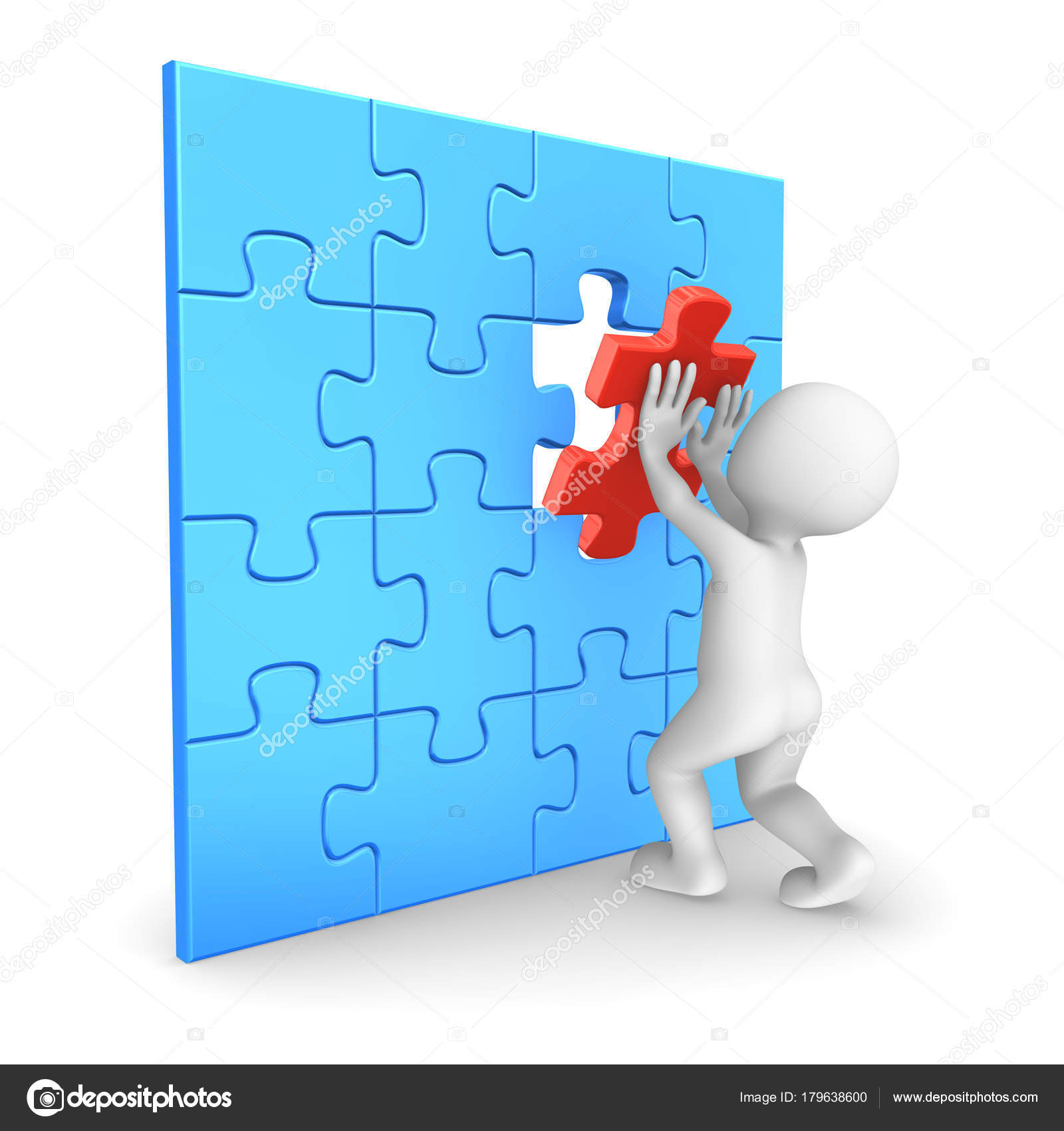White Man Assembling Last Puzzle Piece Rendered Illustration — Stock Photo
