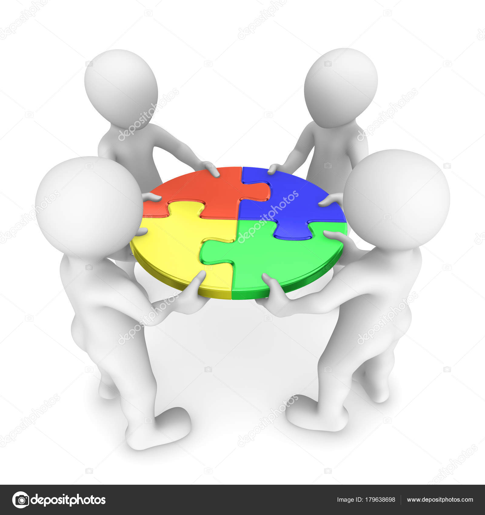 People Jigsaw Puzzle Teamwork Concept Rendered Illustration Stock