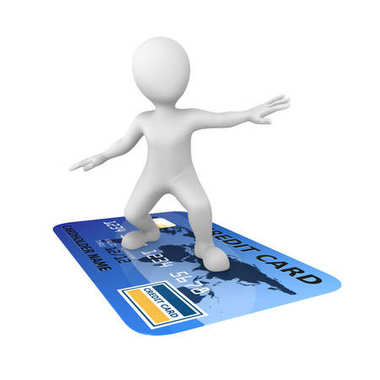 3d man and credit card isolated on white background. 3d illustration.