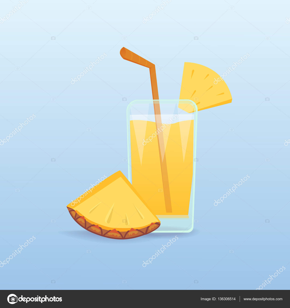 Fette di ananas e succo di frutta fresco isolato. coctail tropicali