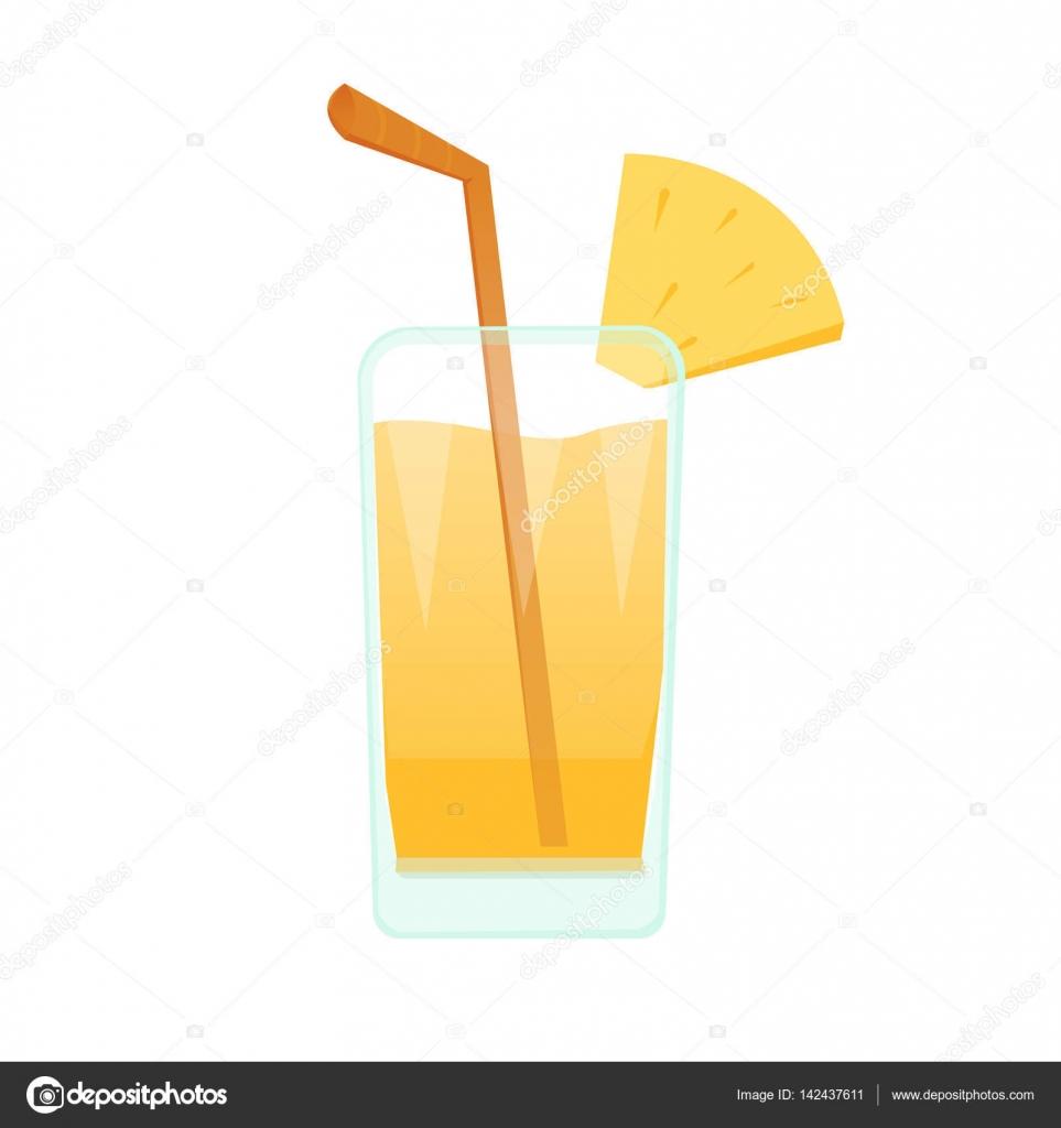 Dessin Animé Plein De Jus Avec Paille Cocktail Et Fruits