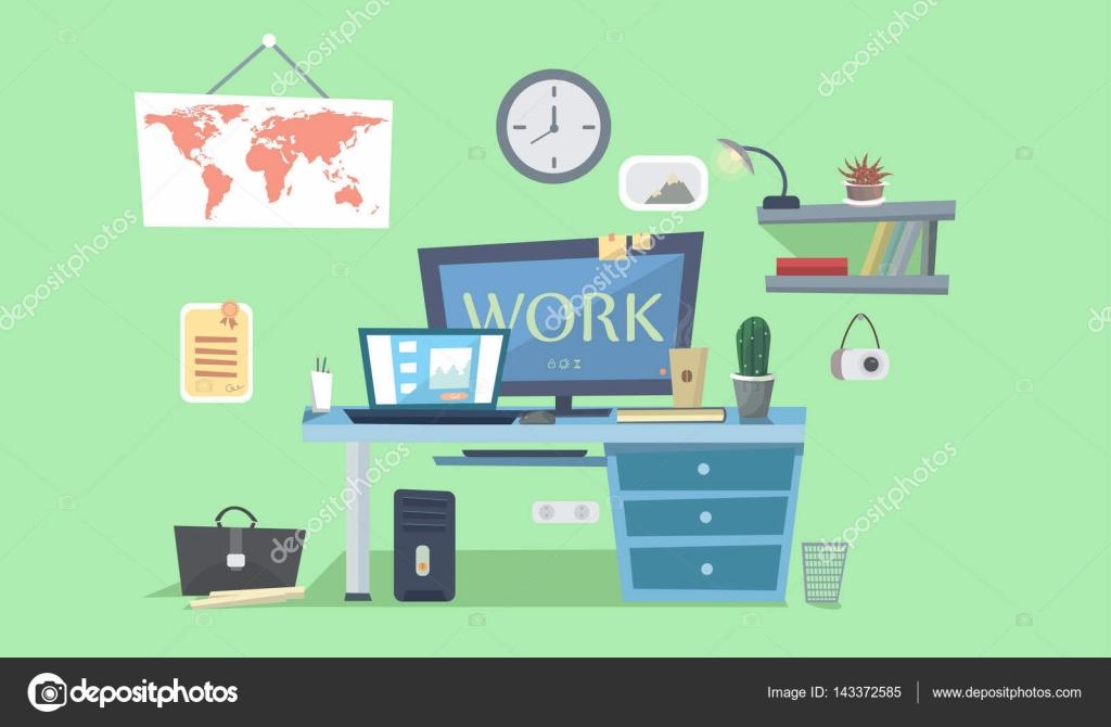 Lugar de trabajo. Escritorio de diseño con computadora, lámpara ...