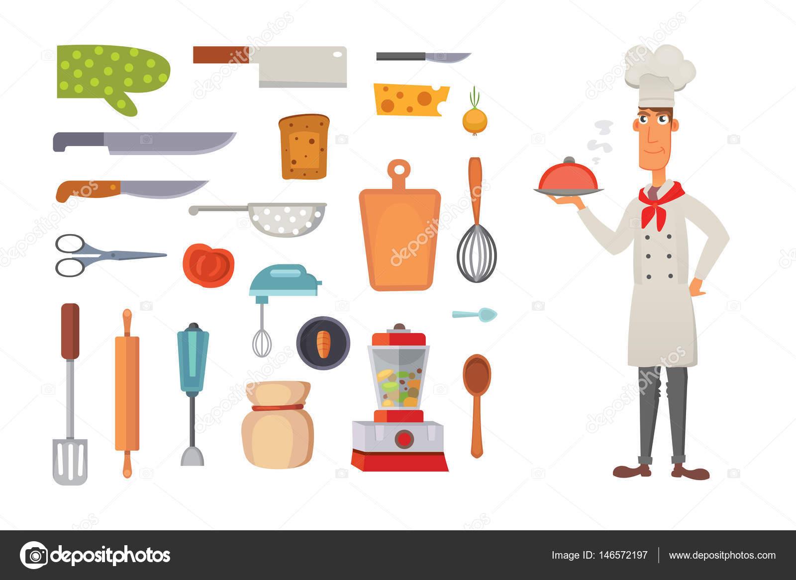 Set cocina estantes y vector de utensilios cocina for Utensilios de chef