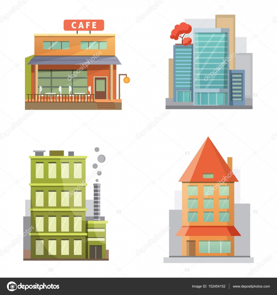 Flat design of retro and modern city houses. Old buildings ...
