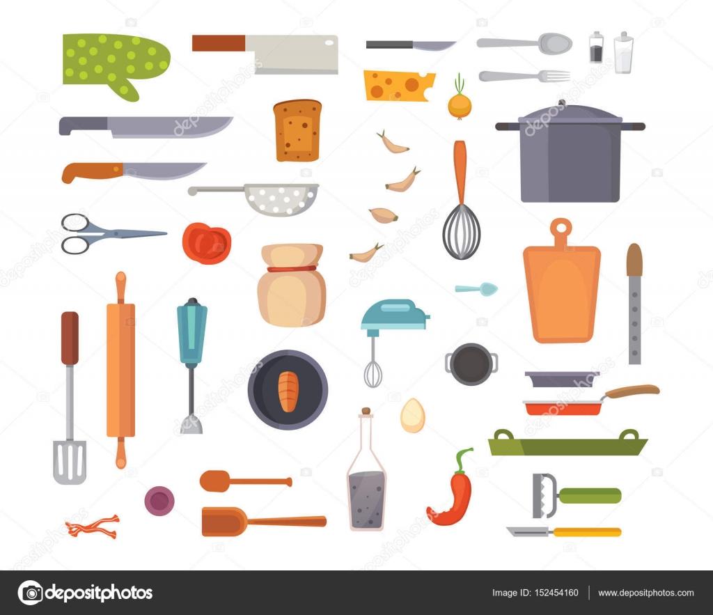 Vector Set Kitchen Utensils. cooking tools flat style. cook ...