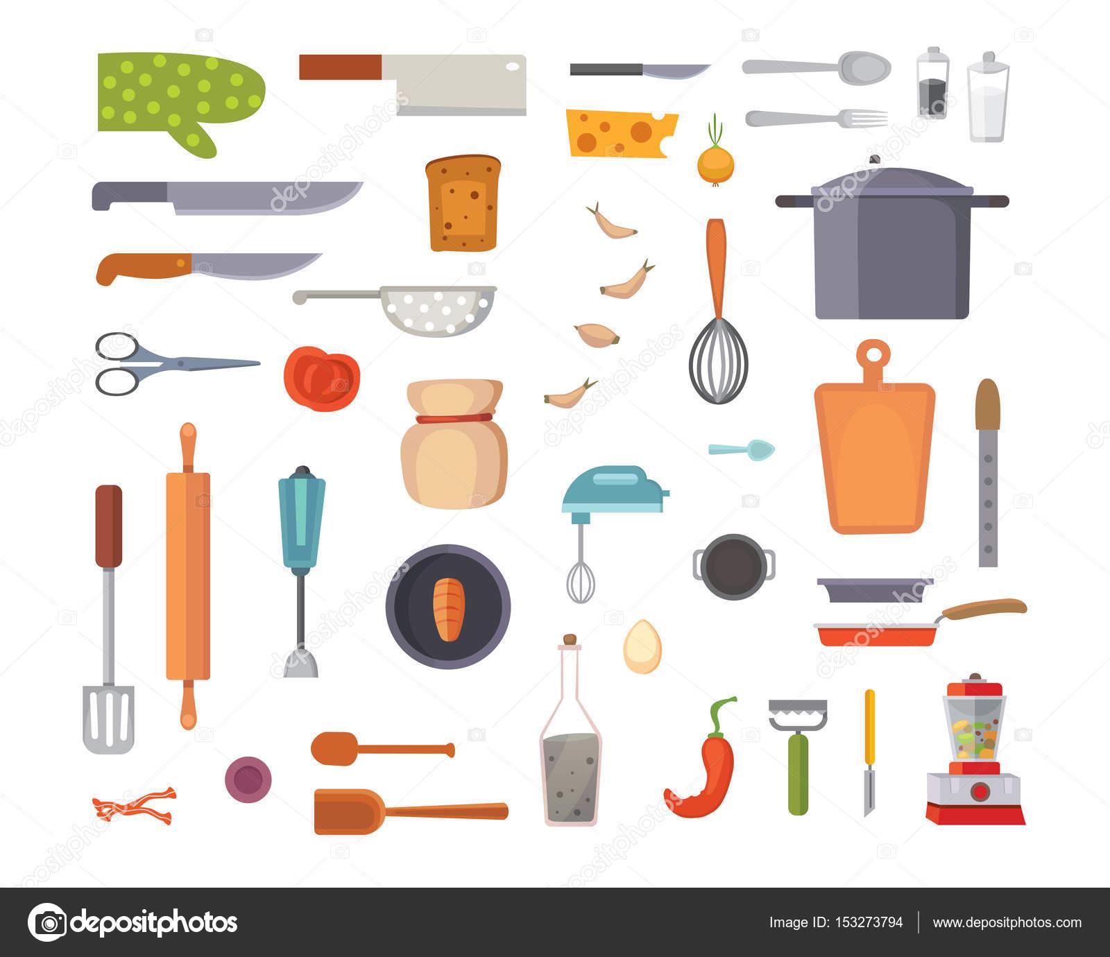 Utensili da cucina set di vettore strumenti di cottura stile piano cucinare equipaggiamento - Strumenti da cucina ...