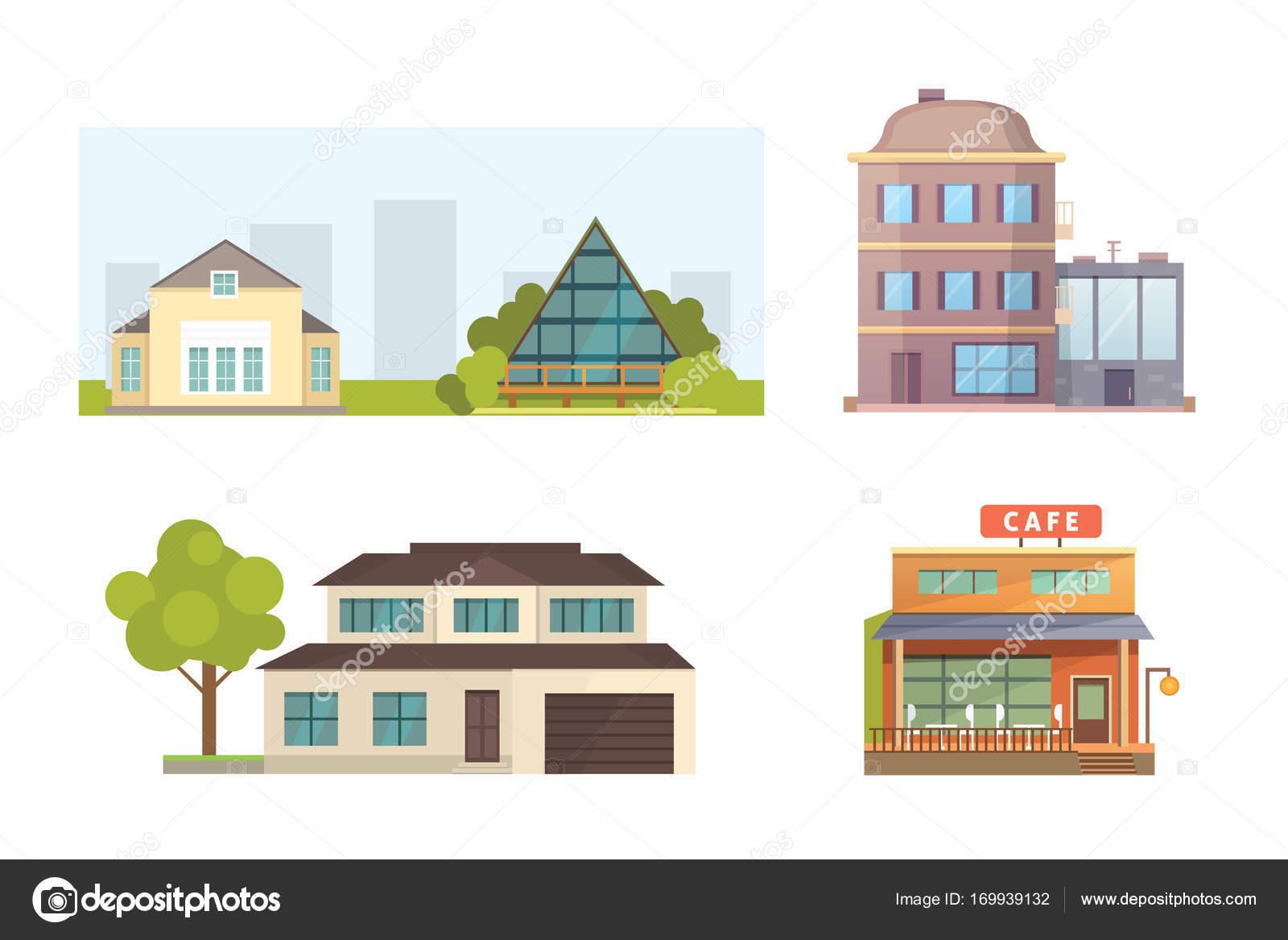 Reihe Von Verschiedenen Stilen Wohnhäuser. Stadt Architektur Retro Und  Moderne Gebäude. Haus Vorne