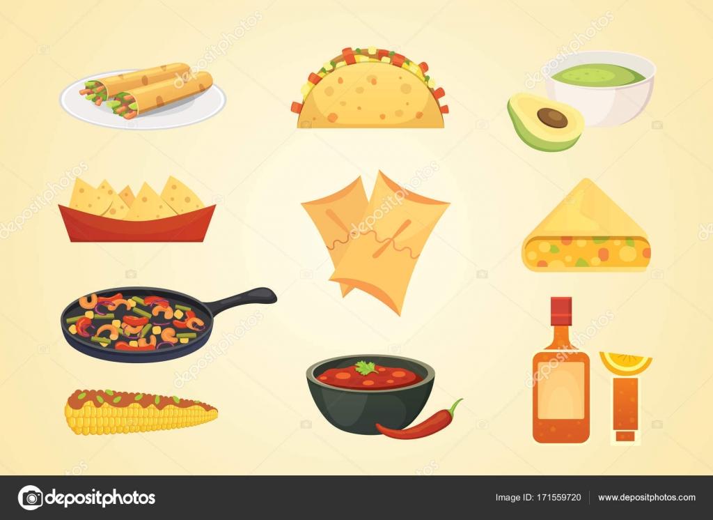 メキシコ料理漫画の料理イラスト ベクトルを設定 ストックベクター