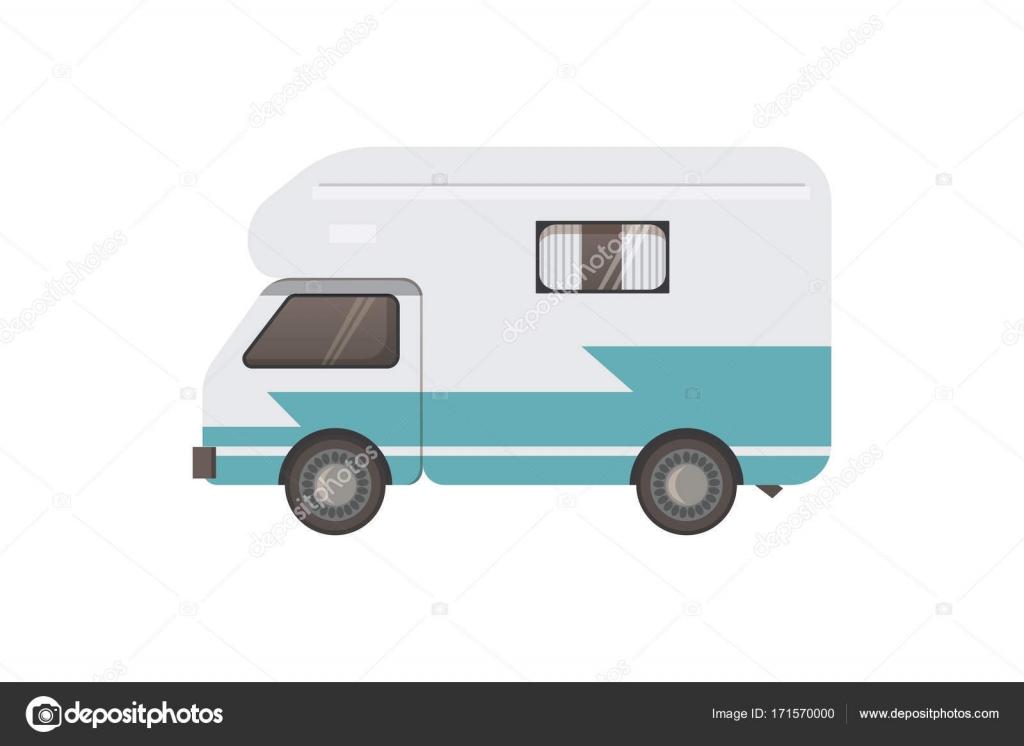 Retro Camper Trailer Vector Illustration Stock