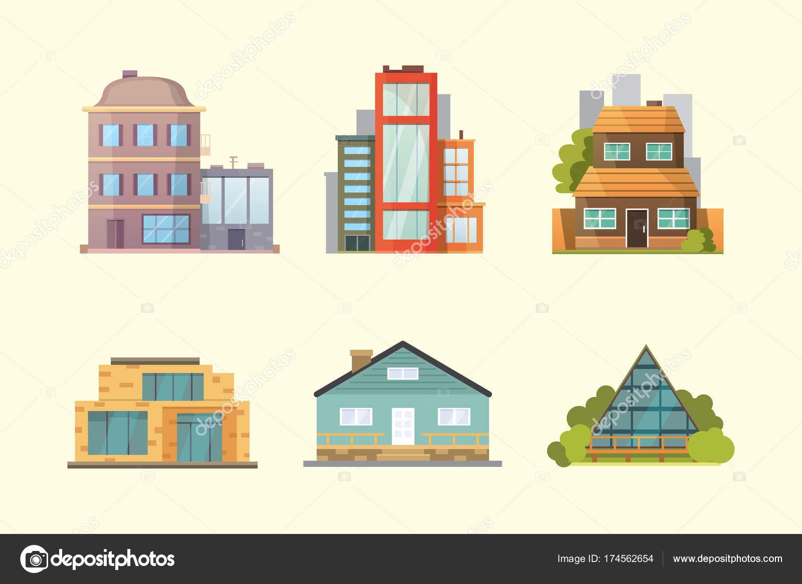 Set van verschillende stijlen residenti le huizen het for Huizen stijlen