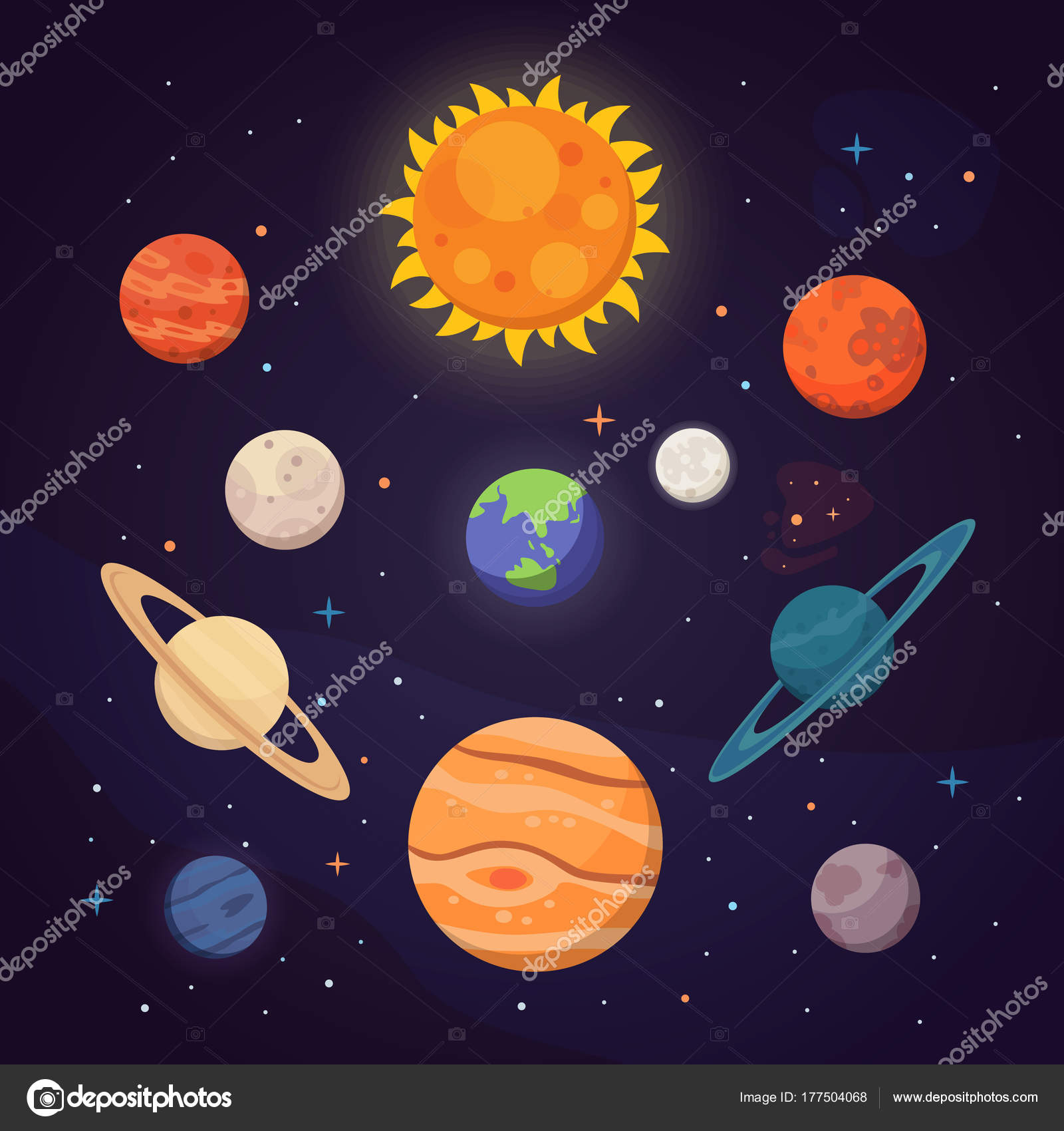 Sada Barevnych Jasnych Planet Slunecni Soustava Prostor S Hvezdami
