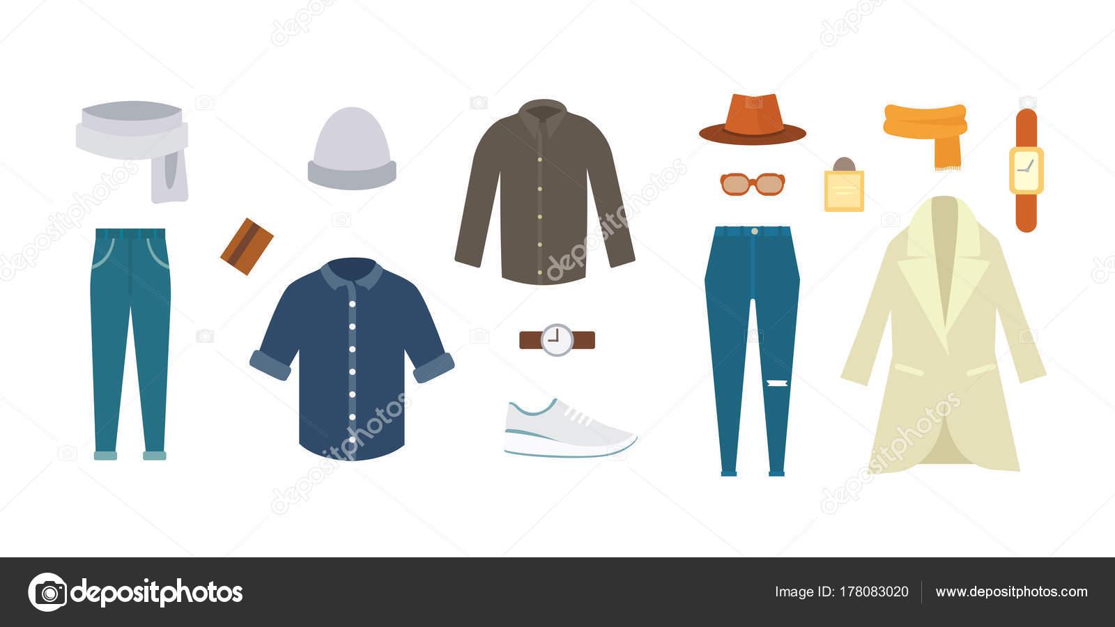 9293548d485af Colección de varios ropa y zapatos para la temporada de frío. Look de otoño  para hombre. Conjunto de ropa para mujer - imágenes  prendas de vestir para  ...