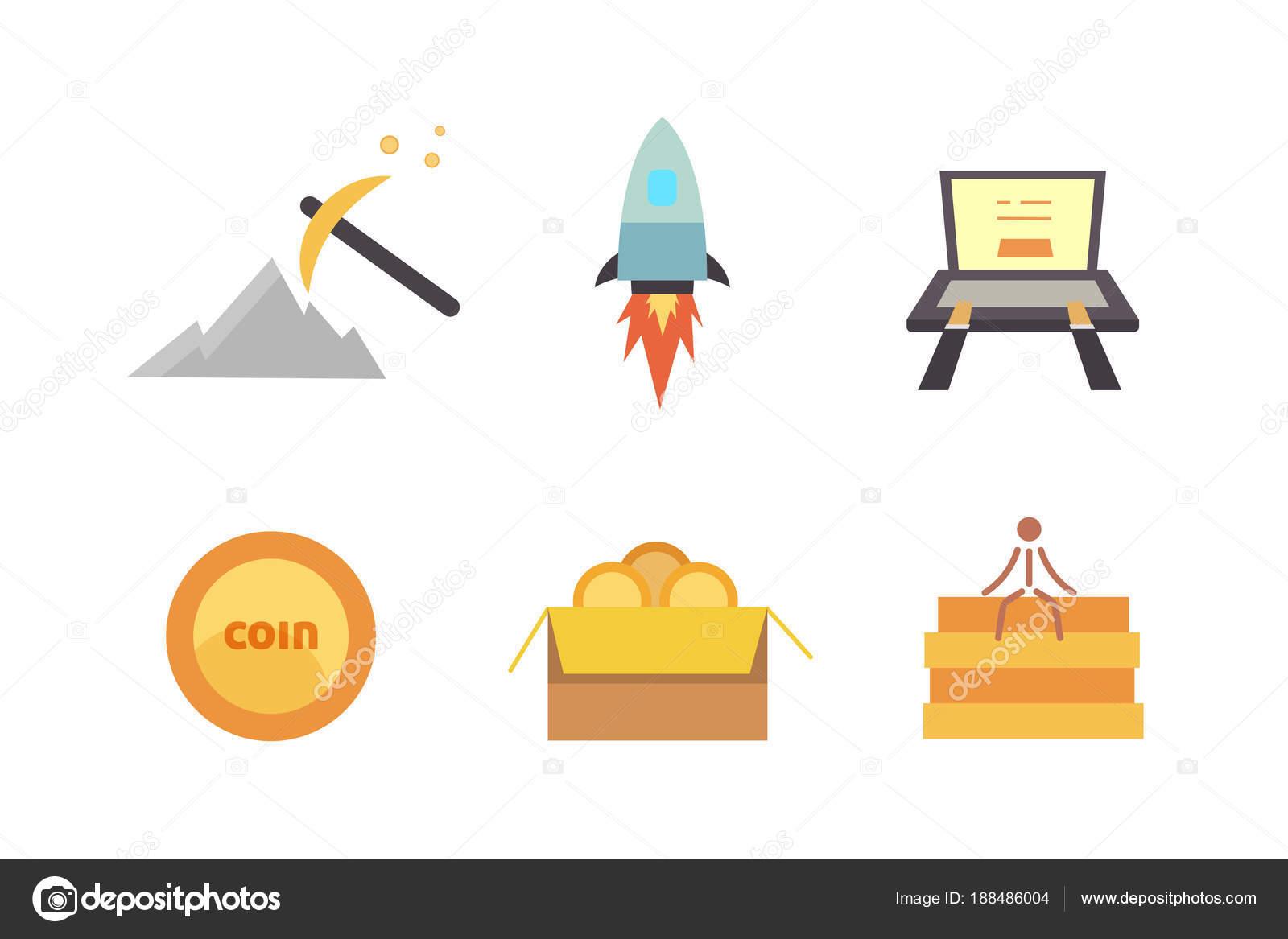 Token ICO vector illustration and blockchain technology