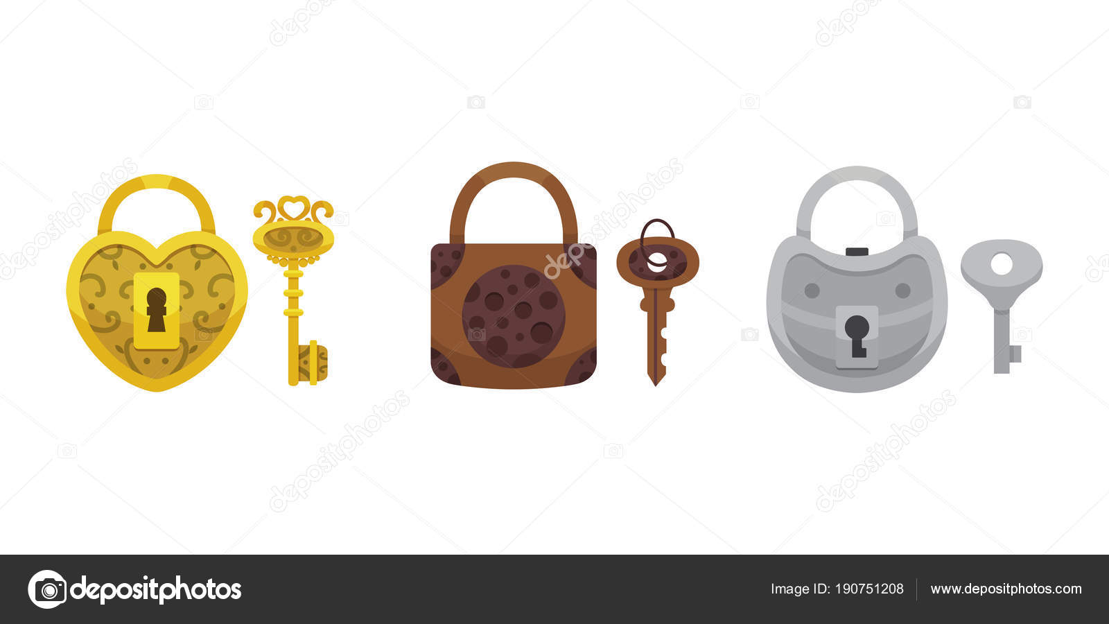 Conjunto De Vindima Chaves E Fechaduras Cadeado De Desenho