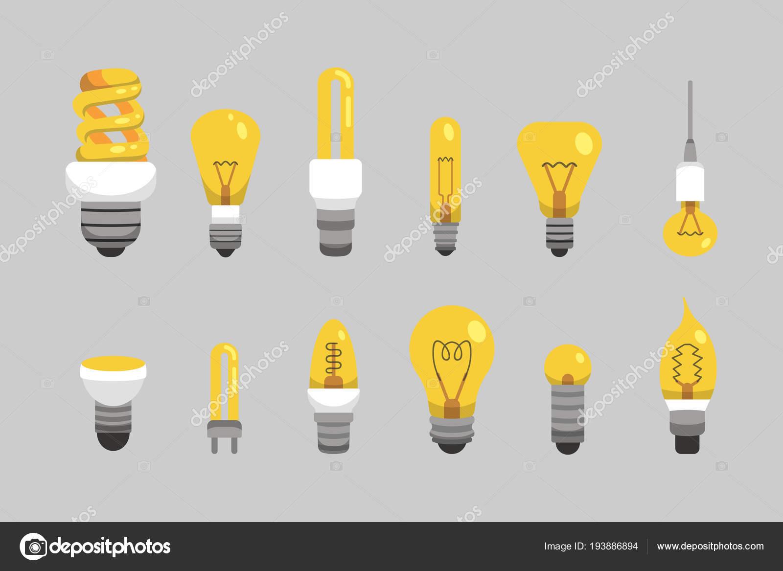 Bombilla Y Lámpara En Estilo De Dibujos Animados. Tipos