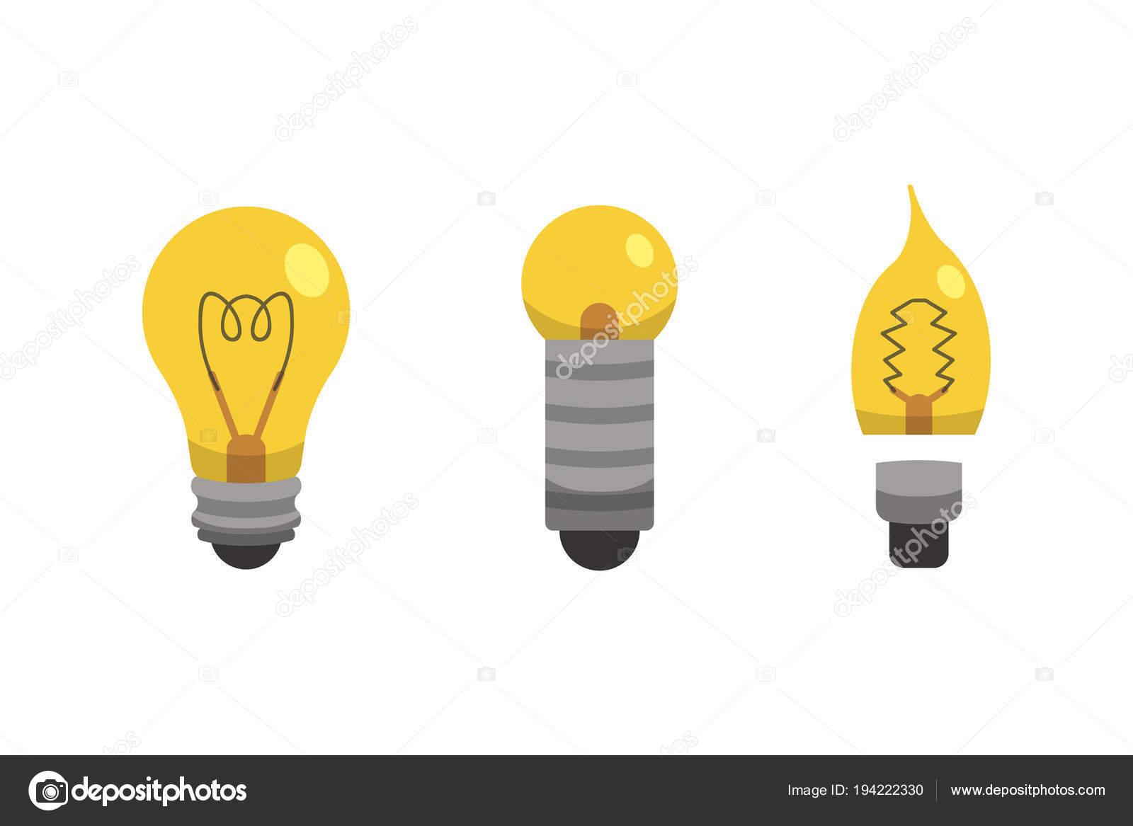 Lampadina e lampada impostato nello stile del fumetto tipi di