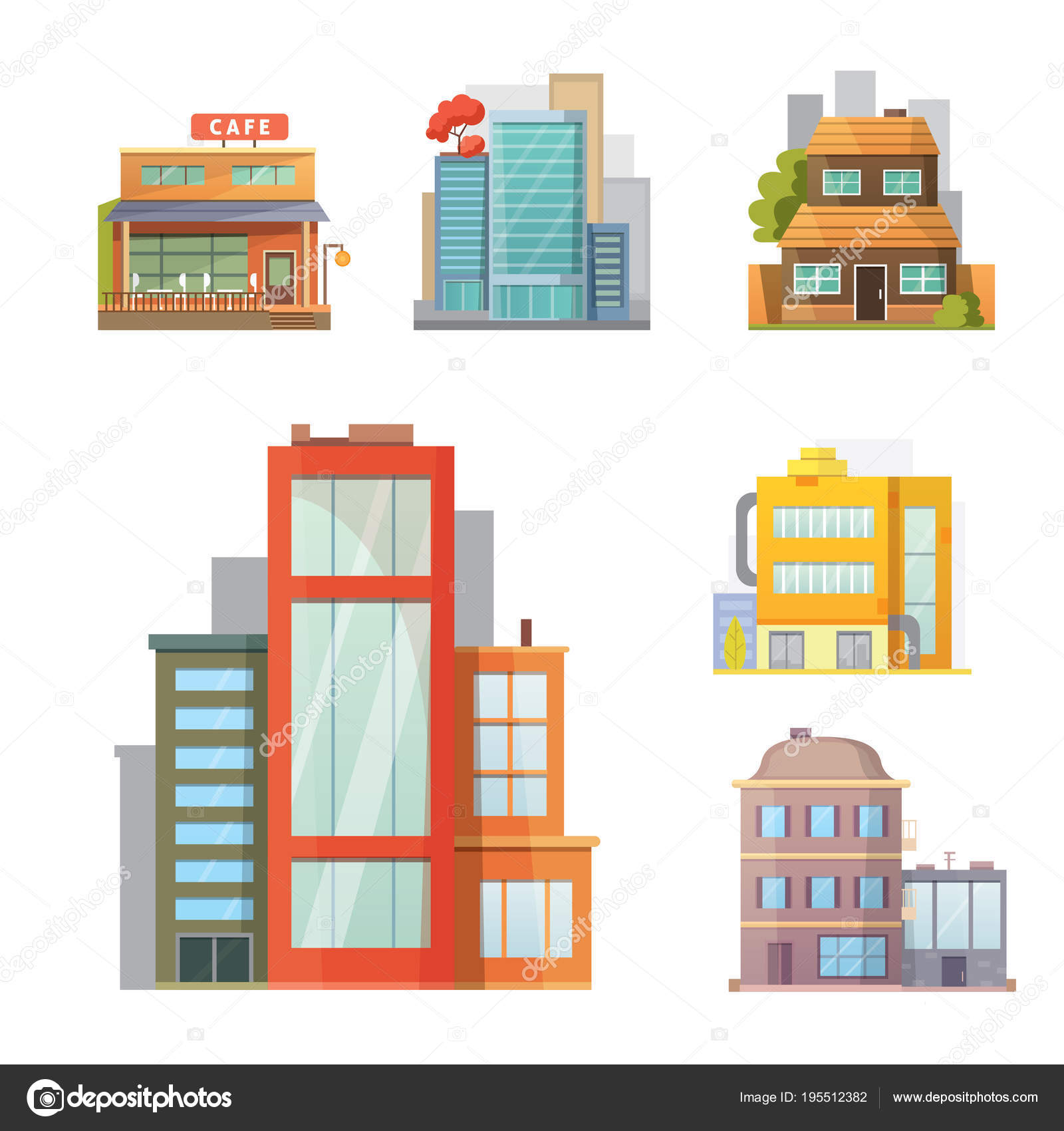 Flat design of retro and modern city houses old buildings skyscrapers colorful cottage building cafe house vector by denis08131 mail ru
