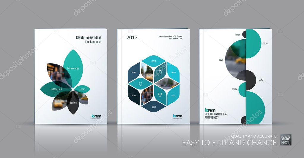 Brochure template layout collection, cover design annual report ...