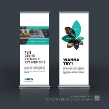 Vector set of modern roll Up Banner stand design with rectangles