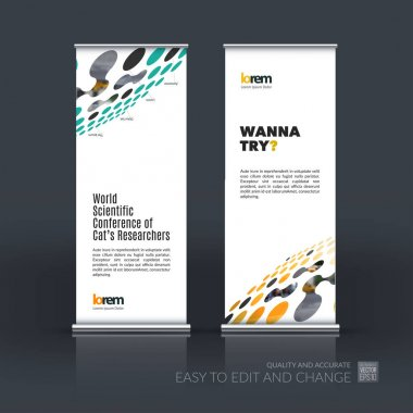 Vector set of modern roll Up Banner stand design  with perspecti