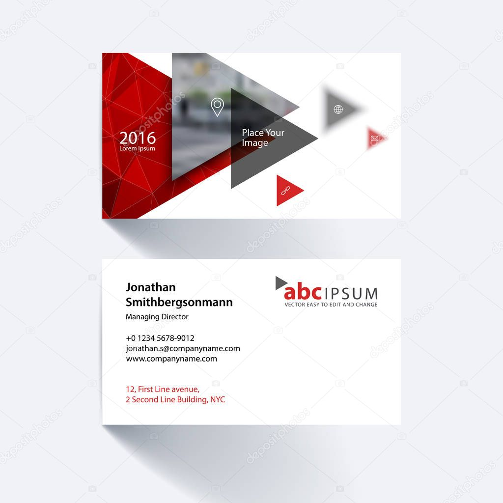 Vector business card template with flying triangles, arrows, pol ...