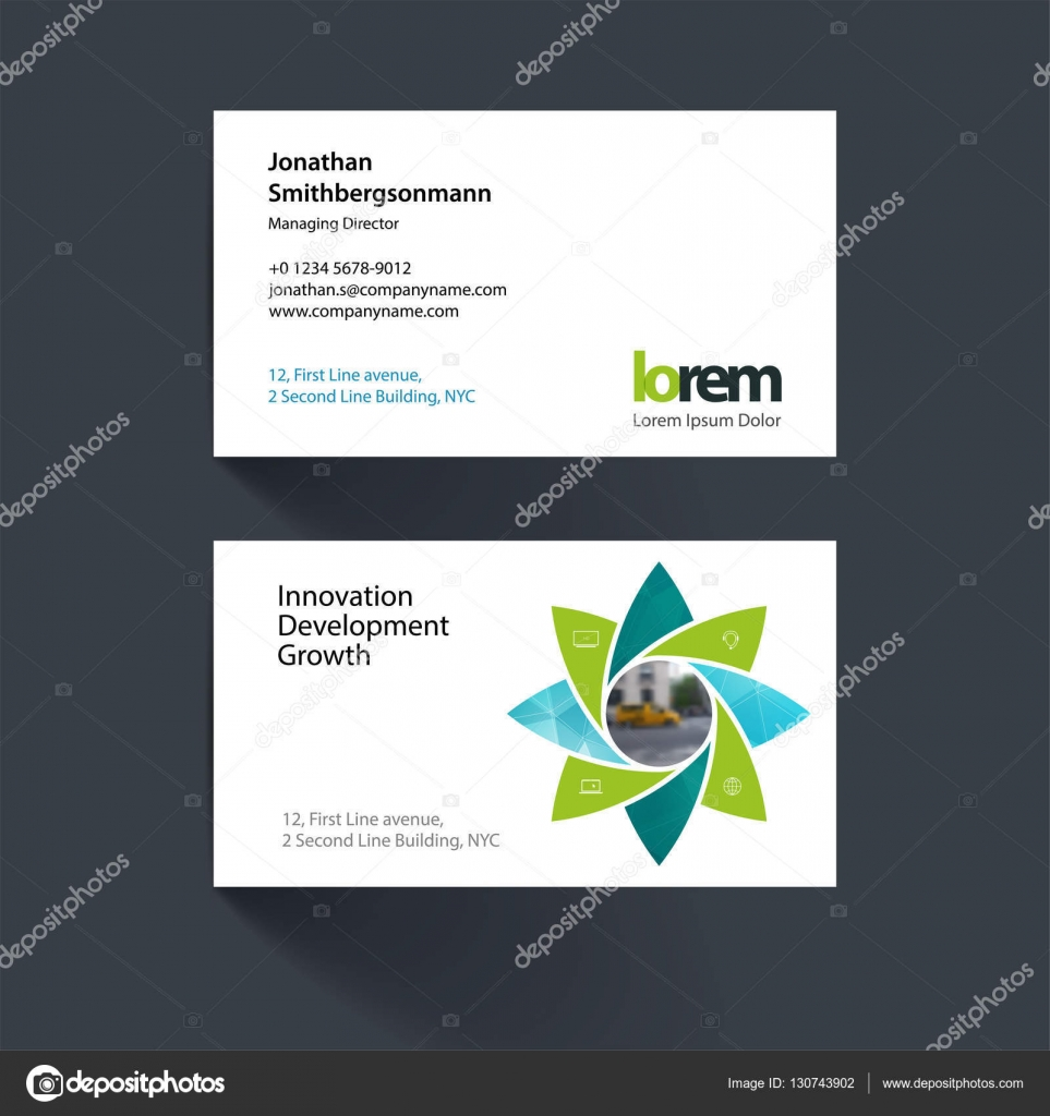 vector business card template with geometric flower shapes poly