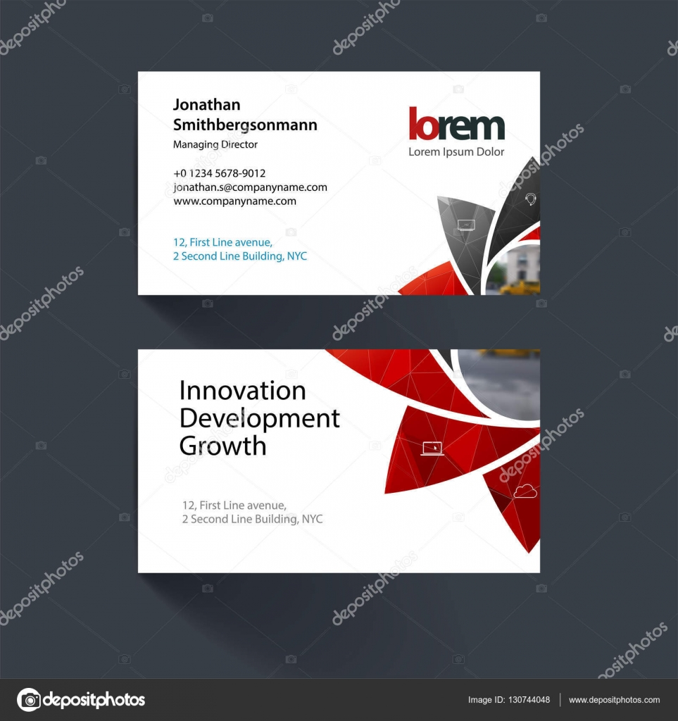 Vector business card template with geometric flower shapes, poly ...