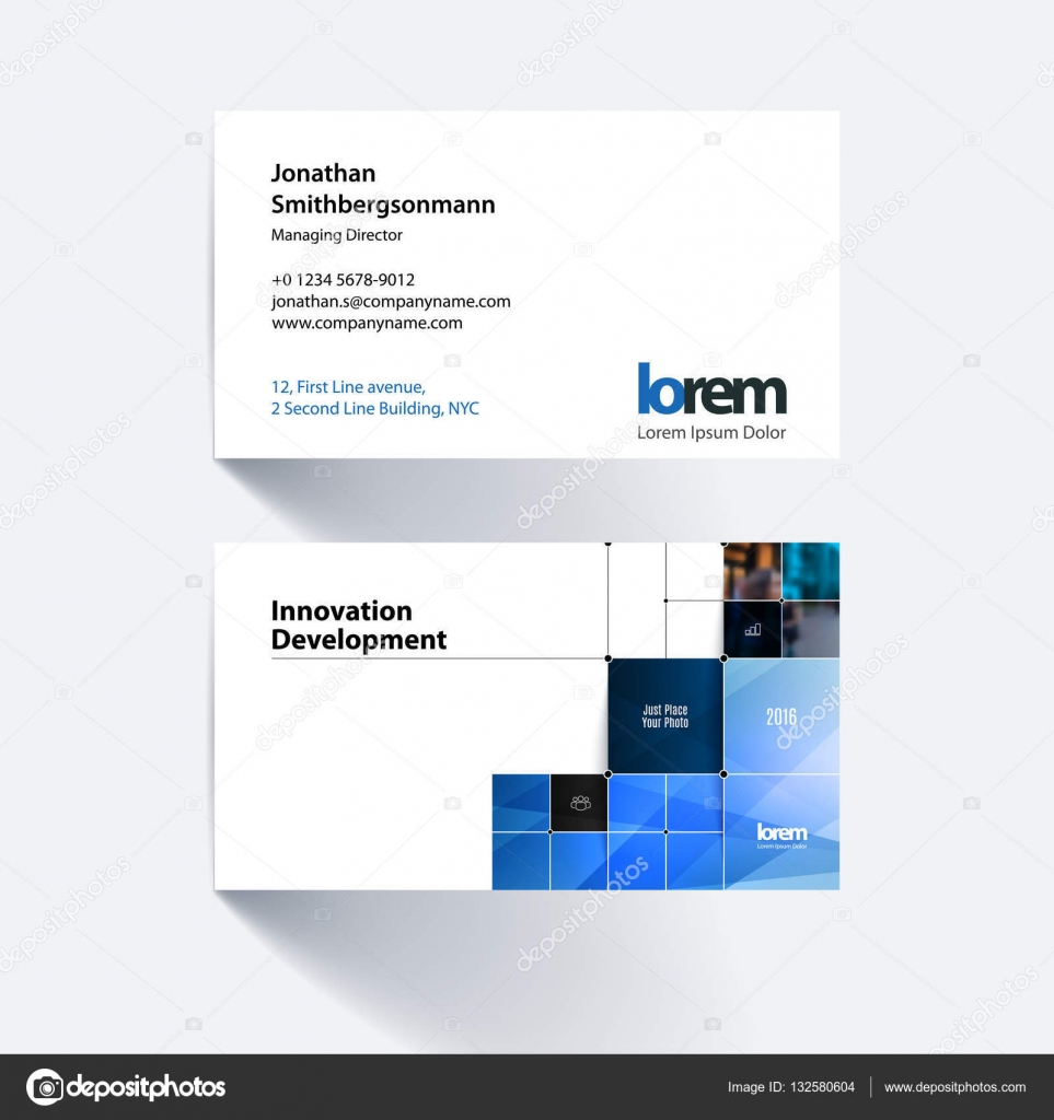 Vector business card template with rectangular shapes, squares ...