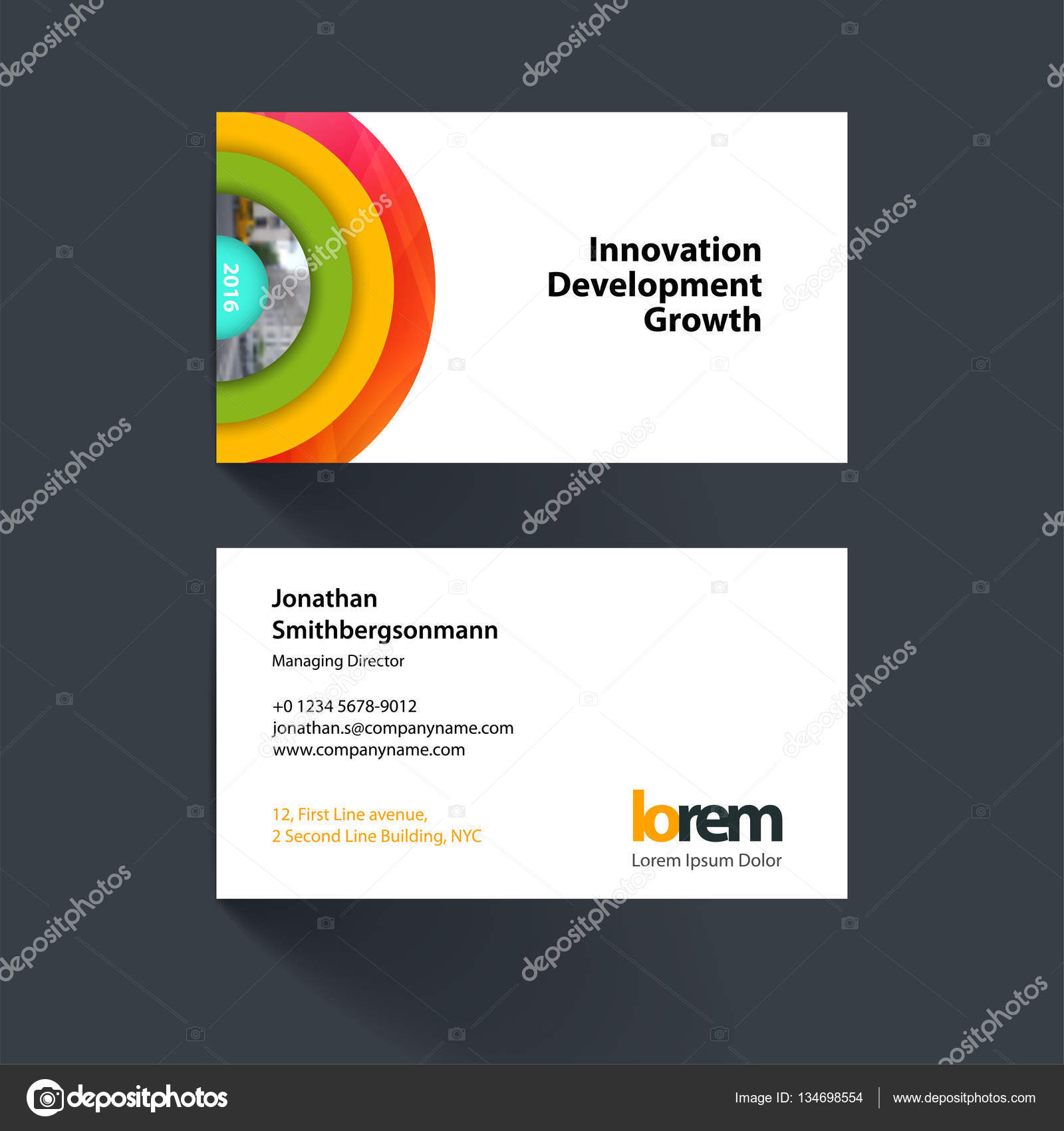 Vector business card template with half target rainbow circles vector business card template with colourful half target rainbow circles rounds for it business beauty simple and clean design reheart Images