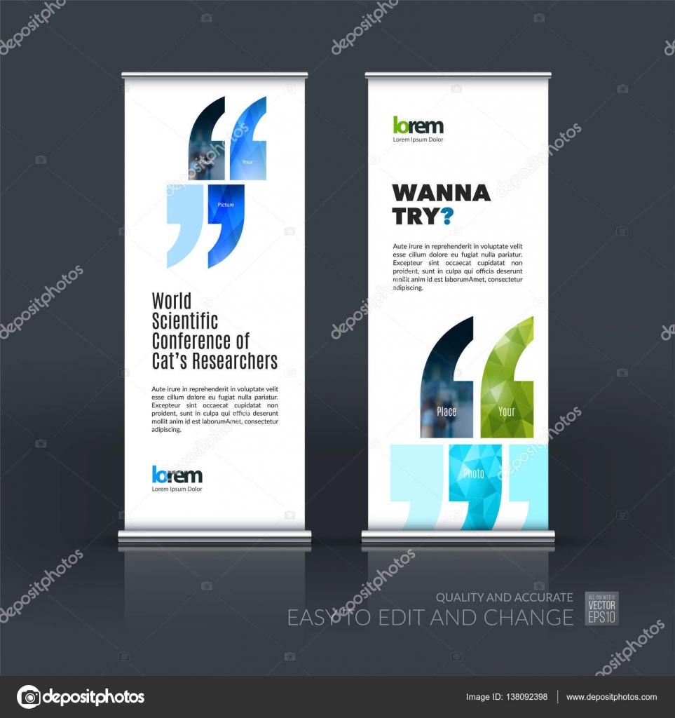 Modern Exhibition Stand Quotes : Abstract business vector set of modern roll up banner stand desi