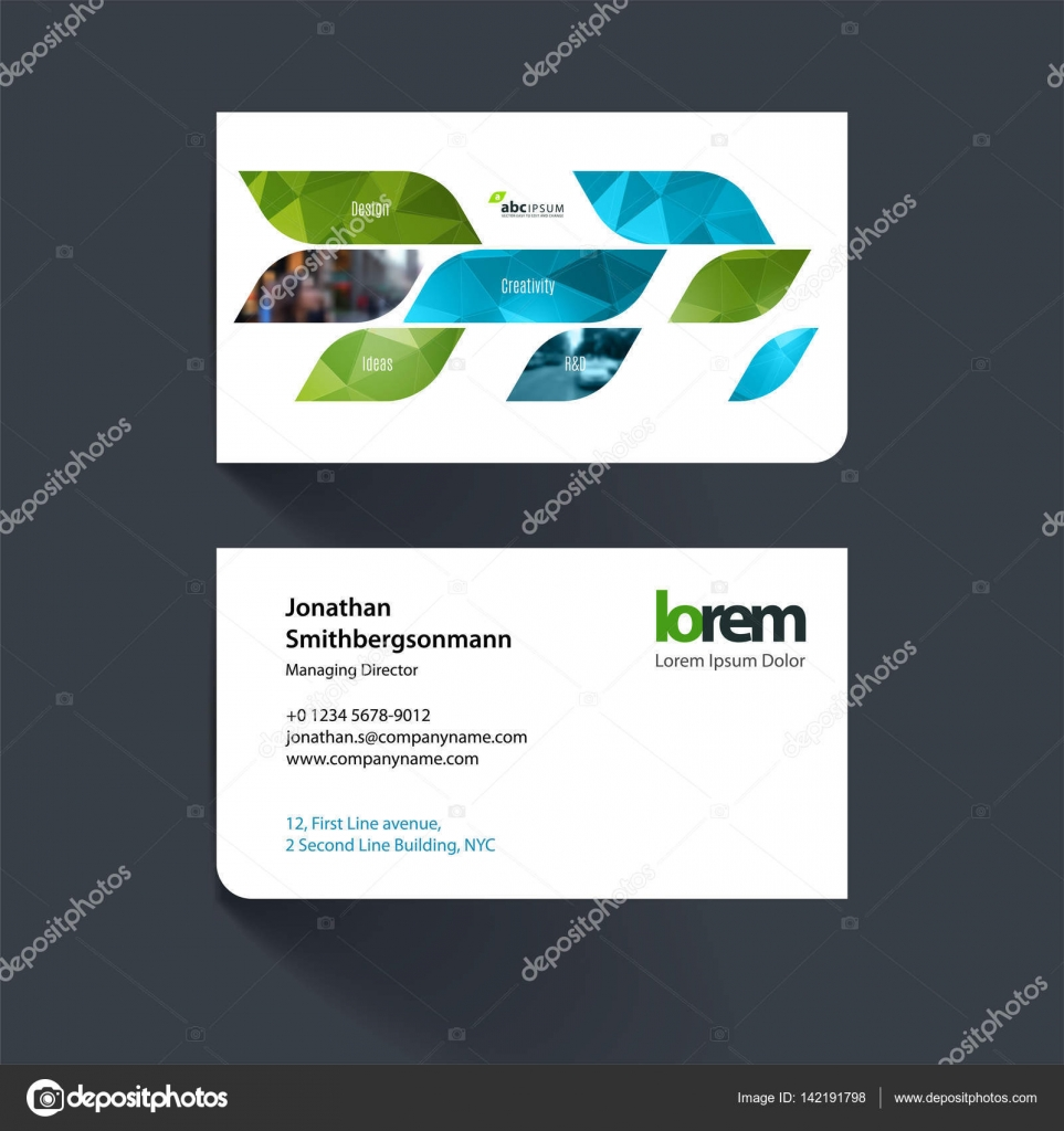 Modle De Carte Visite Vecteur Avec Des Formes Gomtriques Dynamiques Vertes Pour Eco Affaires Technologie Simple Et Propre Conception