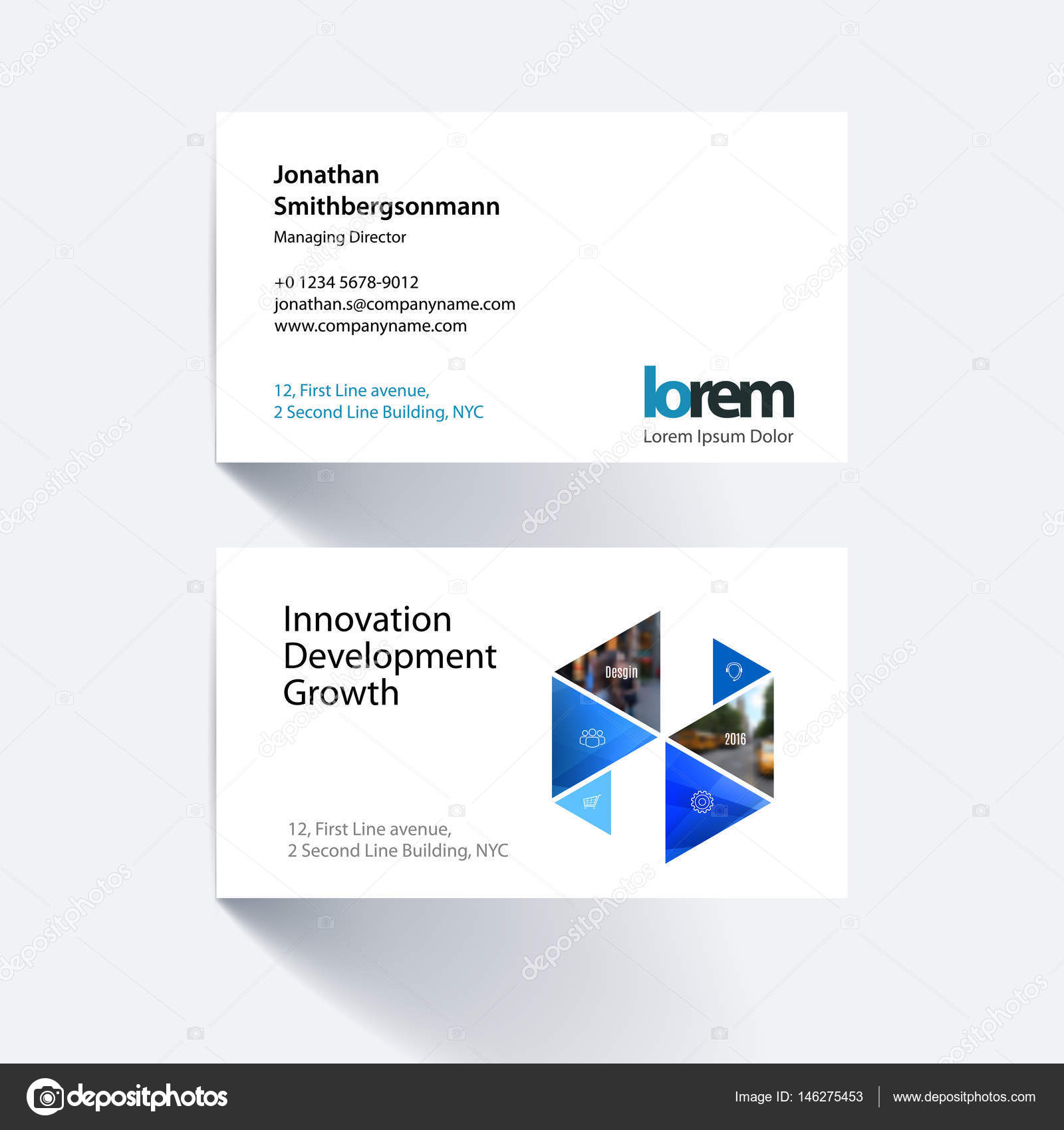vector business card template with colourful hexagonal triangul